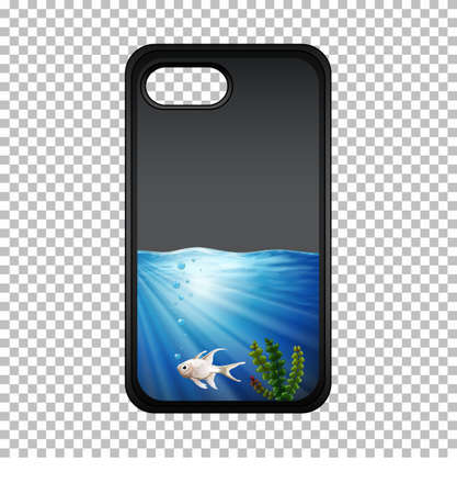 Graphic design on mobile phone case with fish underwater illustration