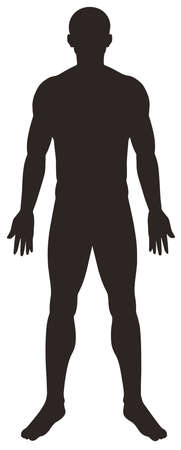 Silhouette man on white background illustration