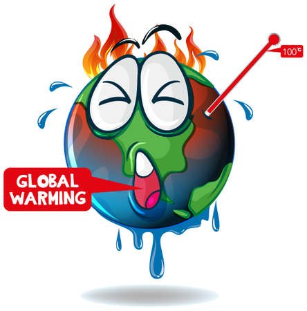 Global warming with earth overheated illustration