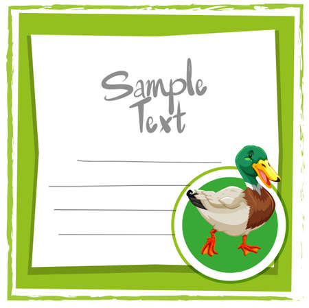 Card template with cute duck illustration