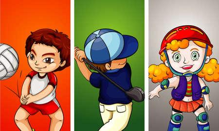 Three kids doing different sports illustration Illustration