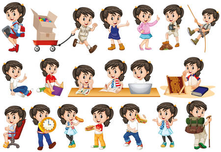 Girl with happy face in different actions illustration
