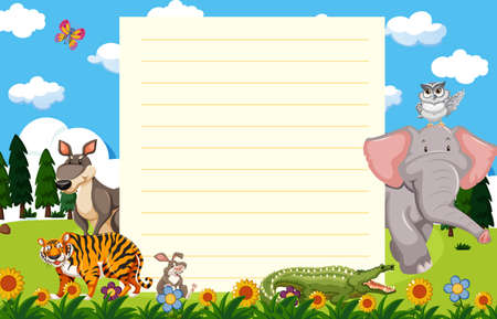 Paper template with wild animals in garden illustration Ilustrace