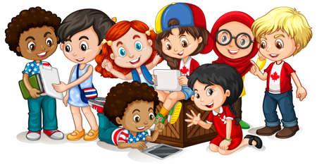 Happy children looking at tablet together illustration