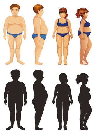 Man and woman with overweight problem illustration