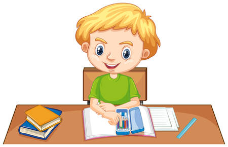 One happy boy doing homework on the desk illustration Vettoriali