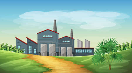 Pollution from factory theme scene in nature illustration 일러스트