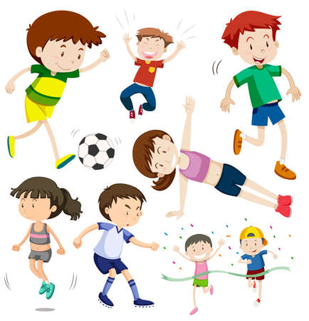 Glückliche Kinder in verschiedenen Aktionsillustrationen