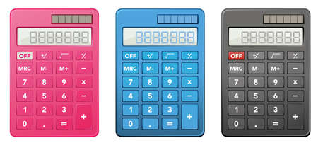 Calculators in three different colors illustration 일러스트
