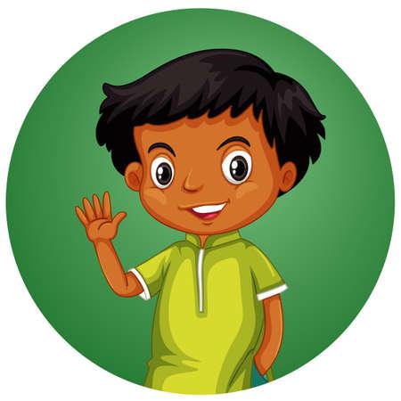 Little boy on round background illustration