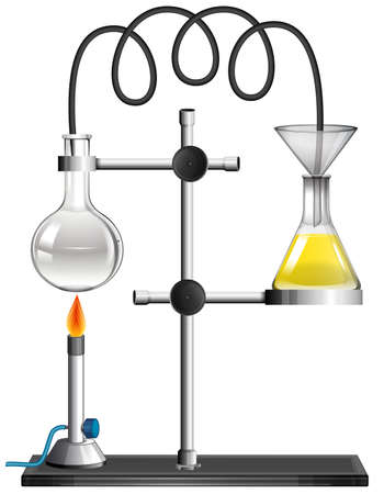 Two beakers on the stand illustration 矢量图像