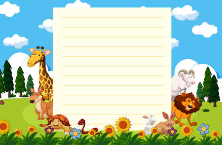 Paper template with animals in garden illustration 일러스트