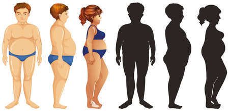 Overweight people and their silhouette illustration