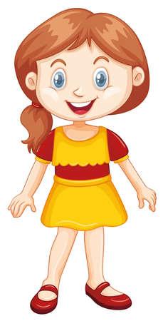 Chica con sonrisa feliz en la ilustración de fondo blanco Ilustración de vector