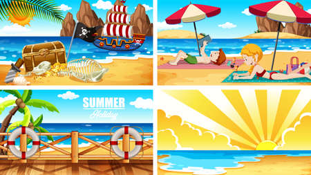 Four background scenes with people on the beach illustration