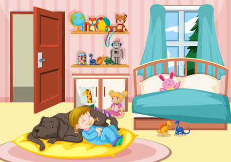 Girl sleeping with dog in bedroom illustration Vettoriali