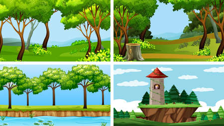 Set of scenes in nature setting illustration