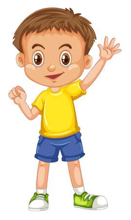 Leuk gelukkig glimlachend kind dat op witte illustratie wordt geïsoleerd als achtergrond Vector Illustratie