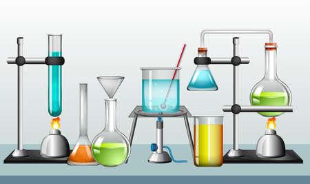 Satz wissenschaftliche Ausrüstungen auf weißer Hintergrundillustration