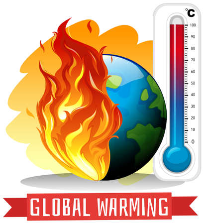 Global warming with earth on fire illustration Foto de archivo - 133216502