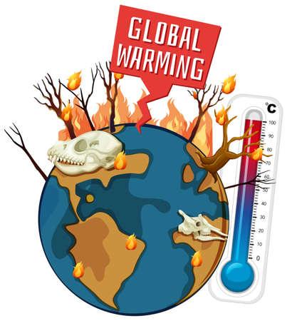 Global warming with deforestation on earth illustration Foto de archivo - 133216477