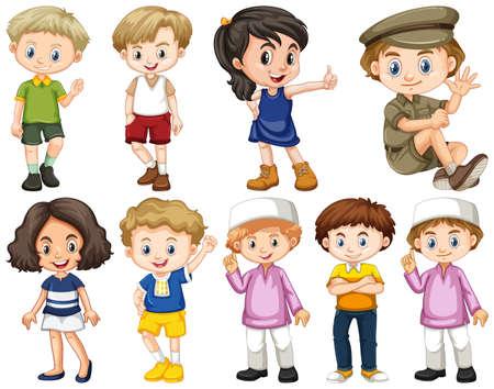 Conjunto de niños aislados en diferentes acciones ilustración