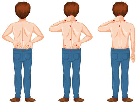 Man showing different spots of pains illustration