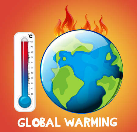 Global warming with earth on fire illustration Foto de archivo - 133363053