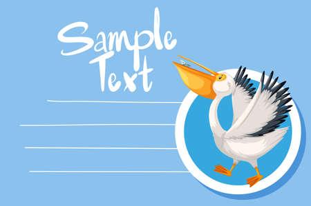 Card template with cute pelican bird illustration 向量圖像