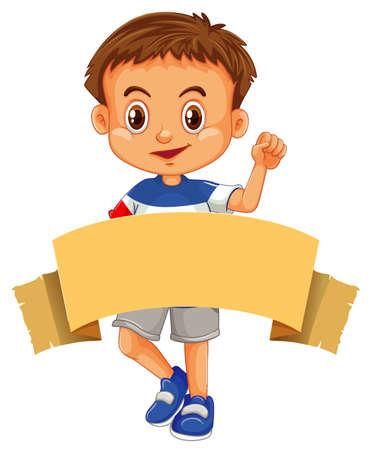 Happy boy and brown banner illustration 版權商用圖片 - 133373352