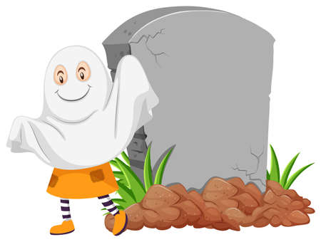 Banner template design with ghost by the gravestone illustration Illustration