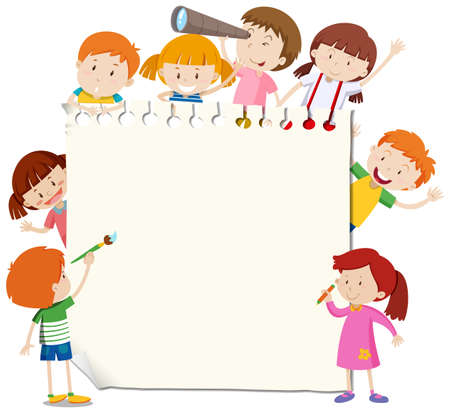 Frame template with happy kid illustration