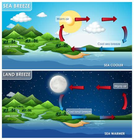 Diseño de carteles de ciencia para ilustración de brisa terrestre y marina.