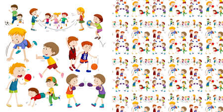 Set of seamless background design with isolated objects theme - children and sport illustration