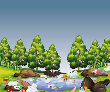 Park scene with rubbish illustration Standard-Bild - 133639445