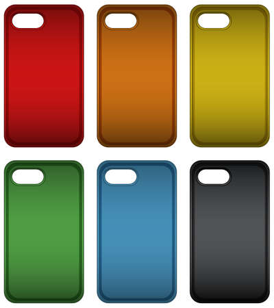 Telephone case in six different colors illustration