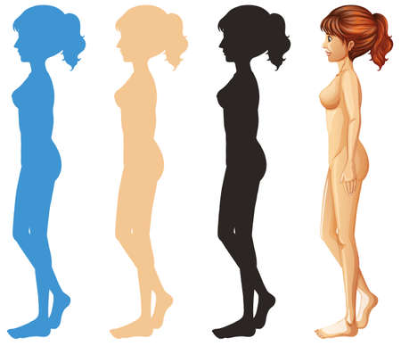 Woman and different color silhouette illustration