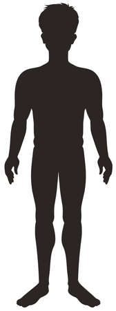 Silhouette man on white background illustration