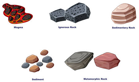 Different types of rocks on white background illustration