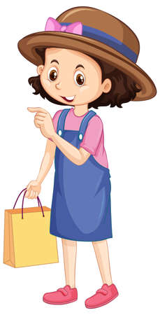 One happy girl with shopping bag illustration