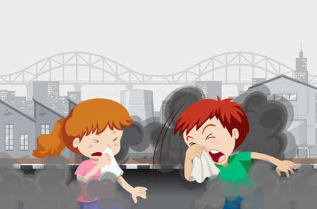 Air pollution with kids in the city illustration