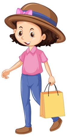 One happy girl shopping bag illustration