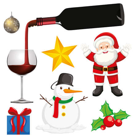 Set of isolated objects of christmas theme illustration