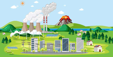 Scene with factories and buildings in city illustration Ilustracja