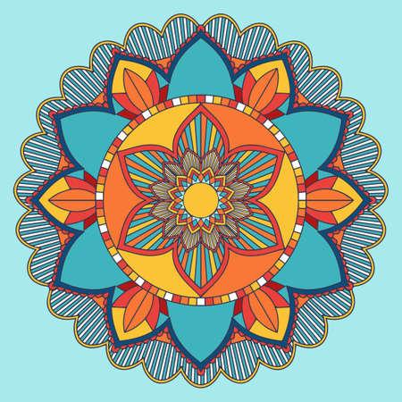 Diseño de patrón de mandala en azul y naranja ilustración