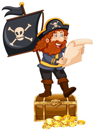 Pirate and gold coins on white background illustration