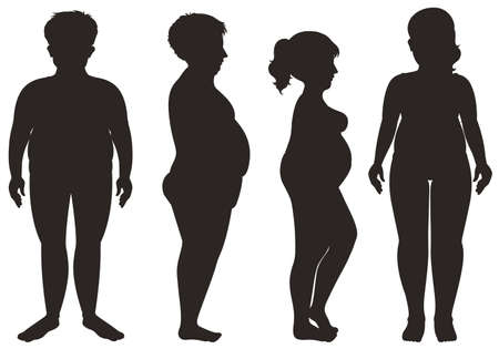 Silhouette men and women on white background illustration