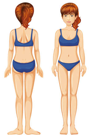 Woman in blue bikini front and back view illustration