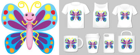 Graphic of butterfly on different product templates illustration