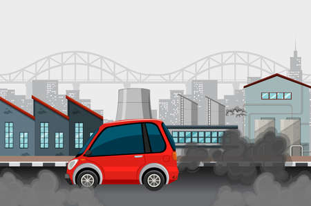 Car and dirty smoke in city illustration